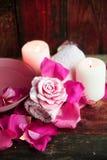 Ajustes del balneario con las rosas Rosas frescas y pétalos color de rosa en un cuenco de agua y de diversos artículos usados en  Fotos de archivo