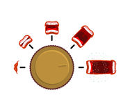 Ajustez le volume Bouton de commande de rotation niveau de cri Cri perçant d'étape illustration de vecteur