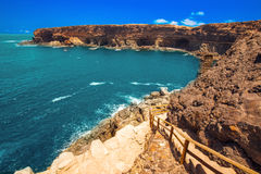 Ajuy coastline with vulcanic mountains on Fuerteventura island, Canary Islands, Spain. Stock Images