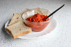 Ajvar in a bowl Stock Photography