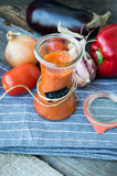 Ajvar, a delicious red pepper and eggplant dish Royalty Free Stock Image