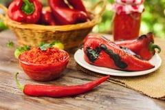 Ajvar en cuenco con paprika roja Fotografía de archivo