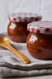 Ajvar, roasted red pepper and eggplant spread Stock Photos