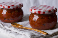 Ajvar, roasted red pepper and eggplant spread Royalty Free Stock Photo