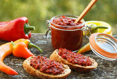 Ajvar - roasted red peppers. Ajvar - delicious dish of roasted red peppers. Sause spread on two slices of bread royalty free stock photo
