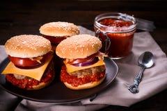 Ajvar salad and beef burger Stock Image