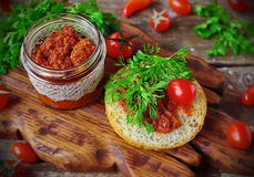 Ajvar sauce roasted pepper Balkan cuisine stock images