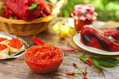 Ajvar-traditional quality Serbian specialty. Served on the table royalty free stock images