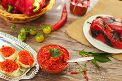 Ajvar traditional Serbian food specialty. On the table stock images