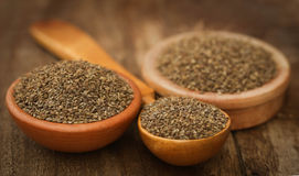 Ajwain seeds. In bowl and wooden spoon Stock Photography