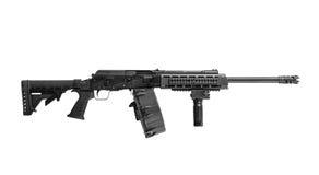 AK-47 12有在白色后面隔绝的鼓杂志的测量仪猎枪 免版税库存照片