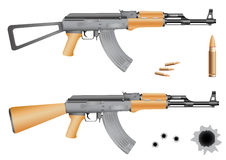Ak-47. Bullets and gunshot holes isolated on the white background Royalty Free Stock Photography