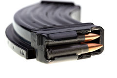 AK 47 ammo with mag. Ammo forAK 47, favorite terrorist gun Royalty Free Stock Photo