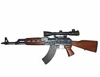 Ak 47,  kalashnikov and sniper. On white background Stock Photography