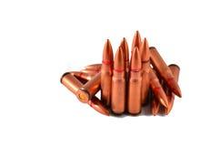 AK 47 ammo. AK 47 kalshnikov ammo isolated on white Royalty Free Stock Photography