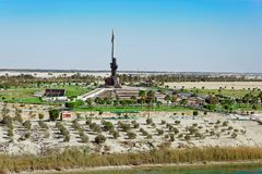AK47 Bayonet memorial near Ismailia, Egypt. AK47 Bayonet is a memorial near Ismailia to the Egyptian soldiers who died in the Battle of Ismailia October 18 royalty free stock images