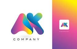 AK de Mooie Kleuren van Logo Letter With Rainbow Vibrant Kleurrijk t Stock Fotografie