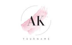 AK ein k-Aquarell-Buchstabe Logo Design mit Rundbürste-Muster Stockfotografie