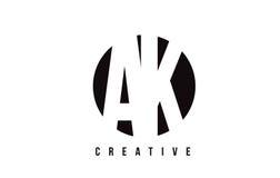 AK ein weißer Buchstabe Logo Design K mit Kreis-Hintergrund Stockbild