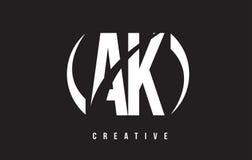 AK ein weißer Buchstabe Logo Design K mit schwarzem Hintergrund Stockfotos