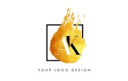 AK gouden Brief Logo Painted Brush Texture Strokes Royalty-vrije Stock Fotografie