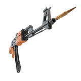 AK-47 gun shooting a cartridge Stock Image