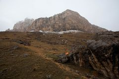 Ak-Kaja mountain near Bezengi. Big stone mountain near Bezengi village. View from Krestovii pass royalty free stock photography