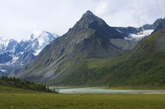 Ak-Kem lake near mt. Belukha, Altai, Russia royalty free stock images