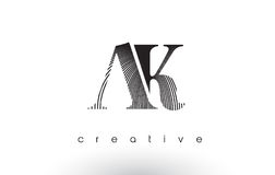 AK Logo Design With Multiple Lines and Black and White Colors. Royalty Free Stock Image