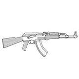 AK 47 Machine Gun Kalashnikov Vector Illustration. Image Stock Images