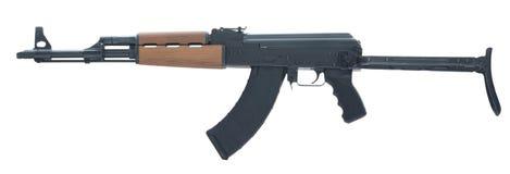 AK 47 op Witte Verlaten die Achtergrond wordt geïsoleerd Royalty-vrije Stock Foto