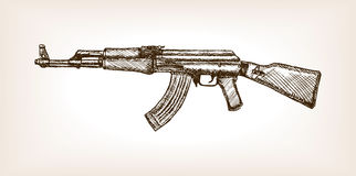 Ak rifle hand drawn sketch vector illustration Royalty Free Stock Images