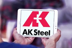 AK Steel Holding logo. Logo of AK Steel Holding on samsung tablet . AK Steel Holding Corporation is a steel producer in usa royalty free stock images