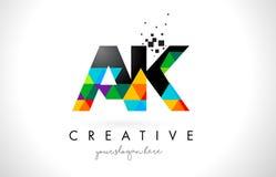 AK un logo della lettera di K con il vettore variopinto di progettazione di struttura dei triangoli illustrazione vettoriale