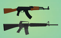 Ak-47 vs m16 comparation Royalty Free Stock Images