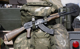 Ak47. On rear of british SAS vehicle royalty free stock photography