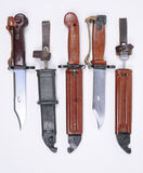 AK47 bayonets. Russian bayonets for the AK47 and AKM rifle. The scabbard and blade can be used as a wire cutter Royalty Free Stock Images