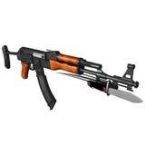 AK47 Kalashnikov Assault Rifle. Folding stock with bayonet Royalty Free Stock Photography