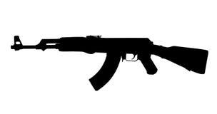 AK47 Kalashnikov Silhouette. AK47 Silhouette. High contrast Russian Kalashnikov assault rifle, isolated black on white Stock Photography
