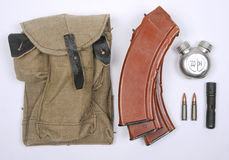 AK47 magazines. Russian pouch and ammunition magazines for the AK47 and AKM rifle. As issued to Russian soldiers Royalty Free Stock Photography