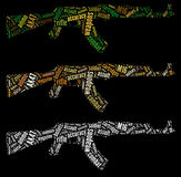 AK47 rifle graphics. AK47 rifle info-text graphics arrangement and words cloud. Military and war concept Royalty Free Stock Photo