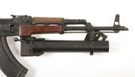 AK47 with under barrel grenade launcher. Grenade launcher fitted to AK47 (AKM) assault rifle Royalty Free Stock Photos
