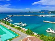 Aka взгляд okinawa моста острова стоковые изображения rf