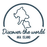 Aka Island Map Outline. Vintage Discover the. Stock Photo