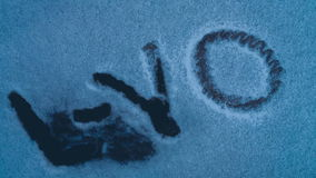 Aka of the producer of L YO written on snow is set. Fire. Close up video stock footage