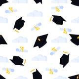 Akademicki mortarboard z kitką zrzuconą w górę nieba w Uniwersytecka skalowanie nakr?tka Ślimacznica wiążąca z faborkiem i ilustracja wektor