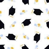 Akademicki mortarboard z kitk? Uniwersytecka skalowanie nakr?tka Ślimacznica wiążąca z faborku i absolwenta kapeluszowym bezszwow ilustracja wektor