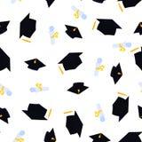 Akademicki mortarboard z kitk? Uniwersytecka skalowanie nakr?tka Ślimacznica wiążąca z faborku i absolwenta kapeluszowym bezszwow ilustracji