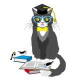 Akademickiego kota czytelnicze książki royalty ilustracja