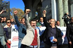 Akademikerprotest i Turkiet royaltyfria foton